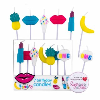7 Birthday Candles Tutti Frutti
