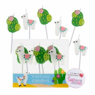 Baked with Love Candles LLAMA and CACTUS Pack of 6