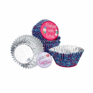 Baked with Love Cupcake Foil Cases DAISY Pack of 25