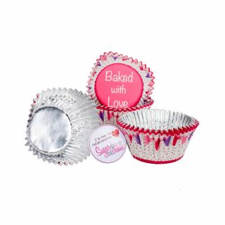 Baked with Love Cupcake Foil Cases PINK BUNTING Pack of 25