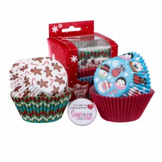 Baked with Love Baking Cases Christmas Friends Pack of 100.abcd