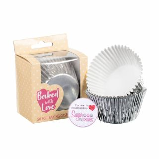 Baked with Love Baking Cases Foil Silver Pack of 50