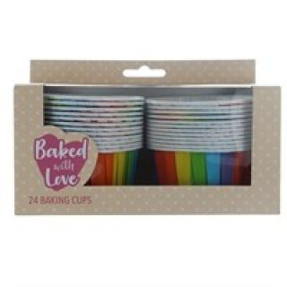 Baked with Love Baking Cups Rainbow Pack of 24.abc