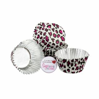 Baked with Love Cupcake Foil Cases Pink Leopard