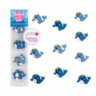Baked with Love Sugar Pipings Narwhal Pack of 10