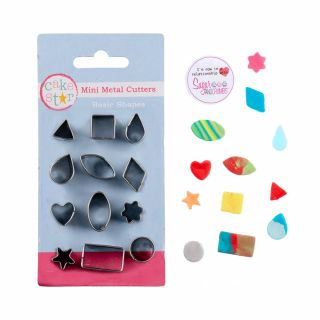 Cake Star Mini Metal Cutters BASIC SHAPES Set of 12