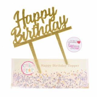Cake Star Cake Topper HAPPY BIRTHDAY GOLD