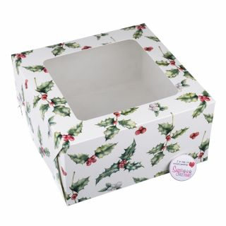 Cake Box Square With Window - Vintage Holly 10 x 5 Inch
