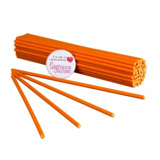 Cake Pop Lollipop Sticks 19cm ORANGE Pack of 50