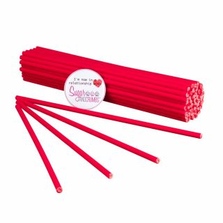 Cake Pop Lollipop Sticks 19cm RED Pack of 50