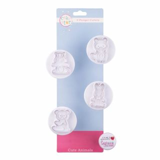 Cake Star Plunger Cutters CUTE Animals Set of 4