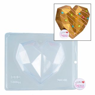 Chocolate Mould BWB 3 Part Geometric Heart Large