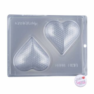 Chocolate Mould BWB 3 Part Medium Sequin Texture Heart.1234