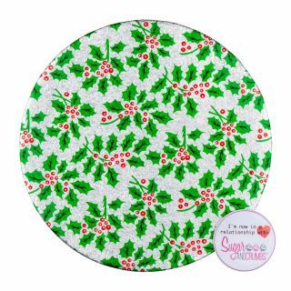 Christmas Cake Card Double Thick Silver Holly Round 06 inch