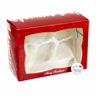 Christmas Cupcake Box 4 inch deep Holds 6