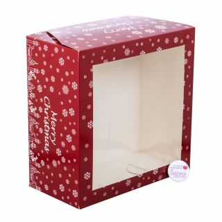 Christmas Red Cake Box with Window 10 x 10 x 05