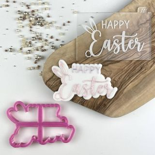 Coco Peony Happy Easter with Ears and Tail Cookie Cutter and Embosser Set