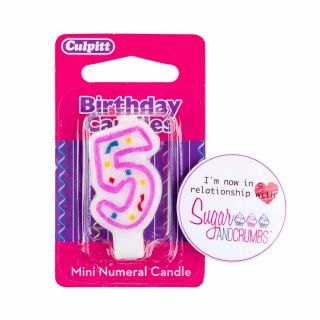 Culpitt Mini Pink Birthday Candle NUMBER 5