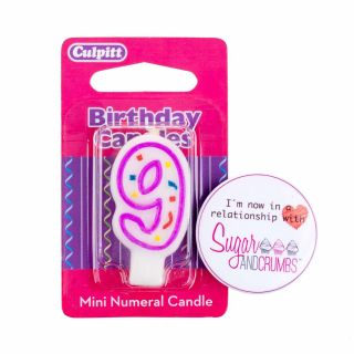 Culpitt Mini Pink Birthday Candle NUMBER 9