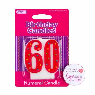 Culpitt Multi Red Birthday Candle NUMBER 60