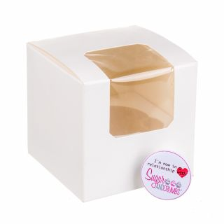 Cupcake Window Box WHITE Fits 1