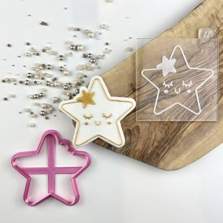 Cute Star Cookie Cutter and Embosser Set