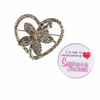 Diamant© HEART Cake Ribbon Brooch