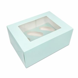 Duck Egg Blue Luxury Cupcake Box - Holds 6 - 4 inch deep