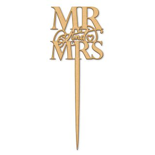 Katy Sue Cake Topper Elegant Wooden Mr and Mrs