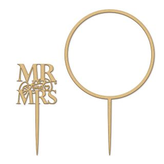 Katy Sue Cake Topper Elegant Wooden Mr and Mrs and Flower Hoop Set