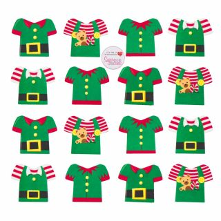 Elf Jacket Sugar Decorations Pack of 160.