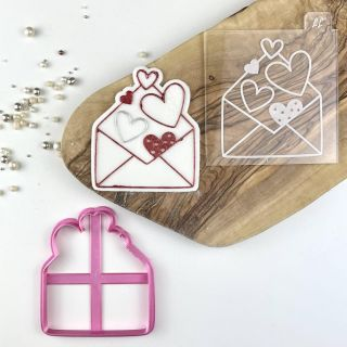 Envelope of Hearts Cookie Cutter and Embosser Set