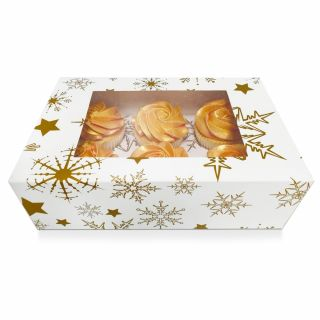 Blue SNOWFLAKES Cupcake Window Box Fits 6