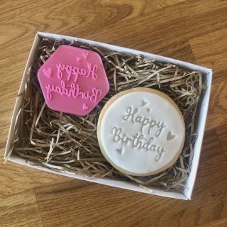 Happy Birthday Hearts Cookie Stamp