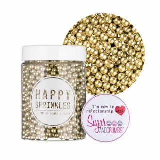 Happy Sprinkles Gold Metallic Pearls Dragee 90g