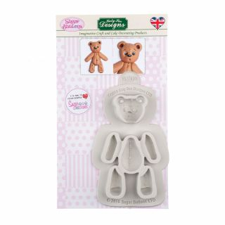 Katy Sue Sugar Buttons Silicone Mould STITCHED TEDDY BEAR