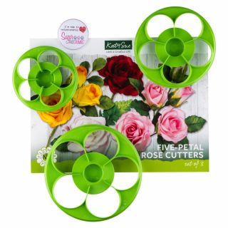 Katy Sue Flower Pro Five Petal Rose Cutter Set of 3.a