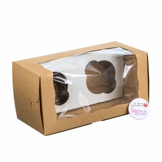 Kraft Box Log/Cupcake Box with Window for 2 Cupcakes with inserts Pack of 5
