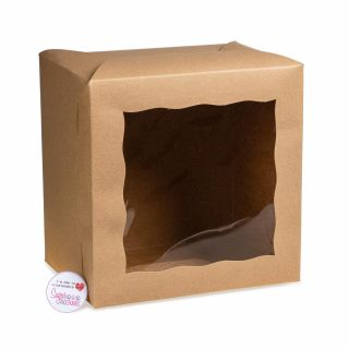 Kraft Cake Window Box 08 x 08 x 06 Pack of 5