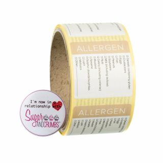 Labels WHITE Square ALLERGENS Sticker Roll of 100