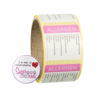 Labels PINK Square Allergens Sticker Roll of 100