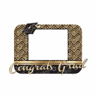 PhotoCake A4 Personalised Congrats Grad Gold Squares
