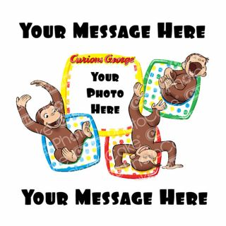 PhotoCake Personalised Image Curious George Monkeying Around