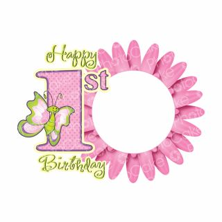 PhotoCake A4 Personalised First Birthday Butterfly