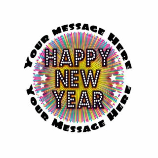 PhotoCake Personalised Round New Year Sparkle