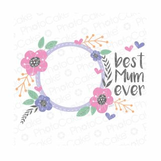PhotoCake A4 Personalised Best Mum Round Frame