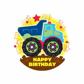 PhotoCake Round HAPPY BIRTHDAY TRUCK