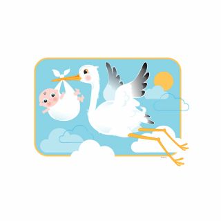 PhotoCake A4 Stork and Baby