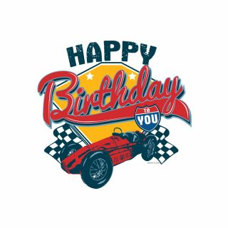 PhotoCake Round VINTAGE RACING BIRTHDAY