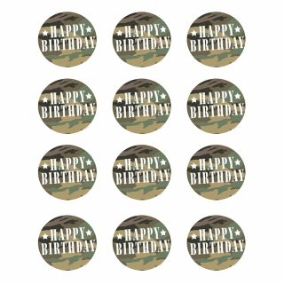 PhotoCake Round CAMOUFLAGE BIRTHDAY